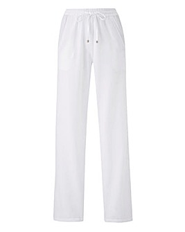 Petite Linen Mix Straight Leg Trousers