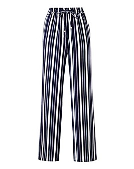 Petite Stripe Linen Mix Straight Leg Trs