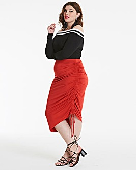 Ruched Side Jersey Midi Skirt