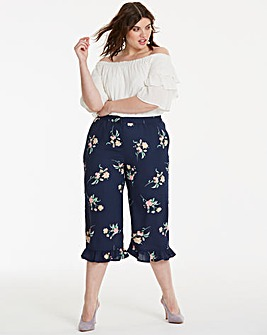Print Frill Hem Crop Trousers