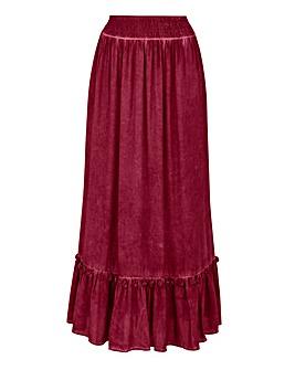 Tassle Trim Tiered Maxi Skirt