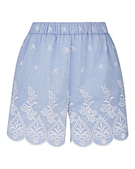 Petite Emb Hem Chambray Shorts