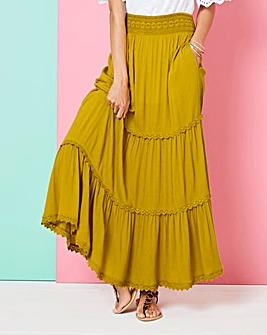 Crochet Trim Tiered Maxi Skirt