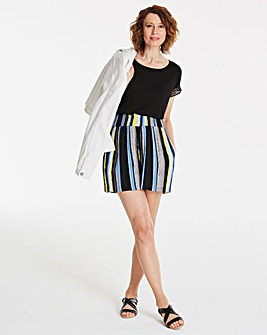 Stripe Crinkle Shirred Waist Shorts