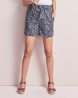 Belted Tie Waist Cotton Poplin Shorts