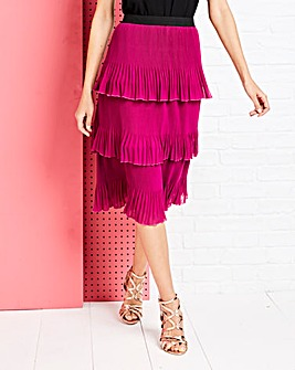 Tiered Pleated Midi Skirt