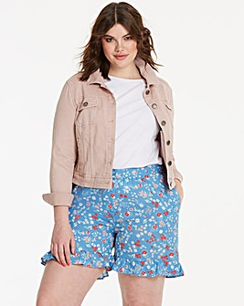 Floral Print Frill Hem Shorts