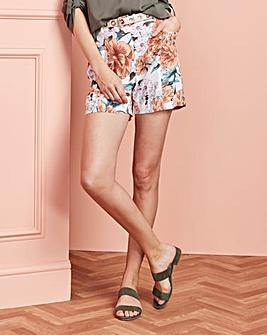 Floral Print Linen Rich Shorts