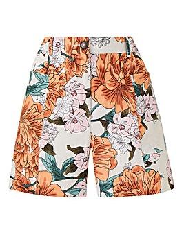 Petite Floral Print Linen Rich Shorts