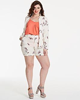 Print Linen Mix Shorts