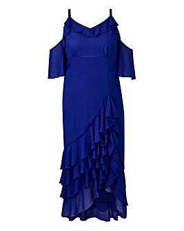 Truly You Cold Shoulder Ruffle Dress