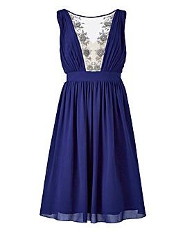 Little Mistress Mesh Plunge Prom Dress