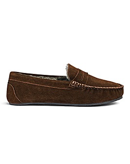 Suede Saddle Loafer Slippers