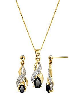 9 Carat Gold Sapphire Pendant & Earrings