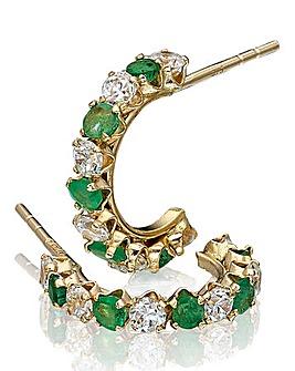 9 Carat Gold Gemstone Hoop Earrings