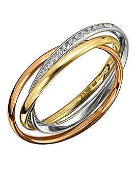 9Ct Three-tone Gold Russian-Style Ring