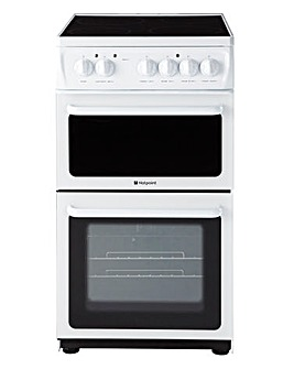 Hotpoint 50cm Ceramic Twin Cooker White