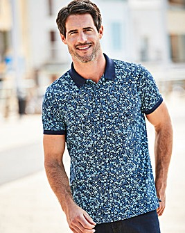 W&B Navy Floral Print Polo R