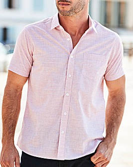 W&B Pink Short Sleeve Slub Check Shirt R