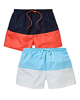 Capsule Coral/Navy Pack of 2 Swimshorts