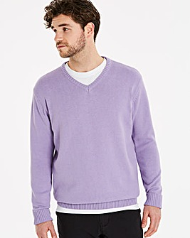 Capsule Lilac V-Neck Cotton Jumper L