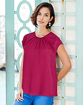 Cherry Gathered Front Shell Top
