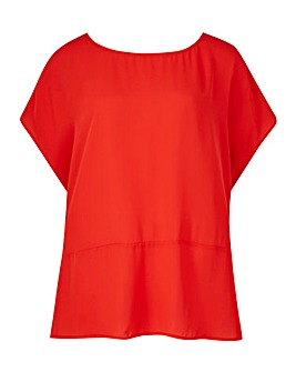 Red Drop Shoulder Twist Back Blouse