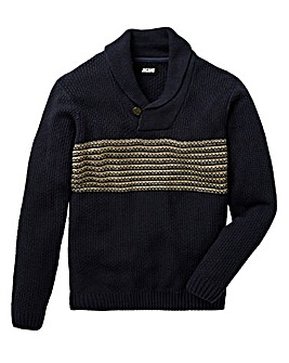 Jacamo Shawl Neck Stripe Jumper Long