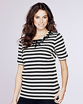 Stripe Jersey Top With Beading