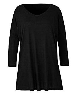 Black V-Neck Slouch Tunic