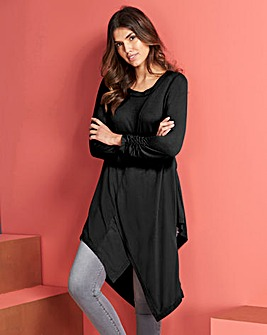 Black Ruched Sleeve Asymmetric Tunic