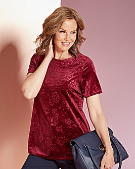 Berry Embossed Velour Shell Top