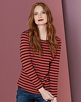 Russet Stripe Crew Neck Long Sleeve Top