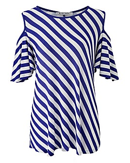 Blue Stripe Print Cold Shoulder Tunic