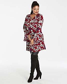 Wine Print Strap Bell Sleeve Tunic