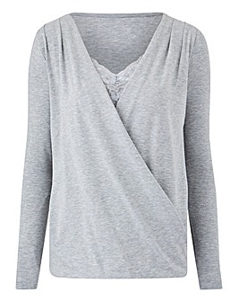 Grey Marl Lace Insert Wrap Front Top