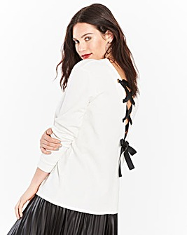 Ivory Lace Up Back Sweatshirt
