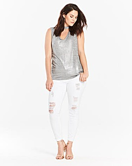 Silver Choker Neck Sleeveless Top