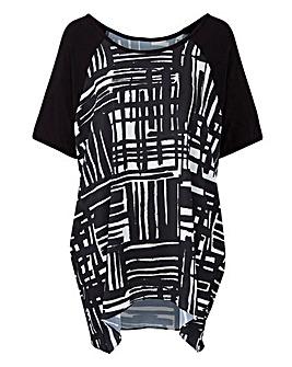 Print Woven Front Raglan Sleeve T-shirt