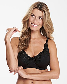 Iris Embroidered Black Bra