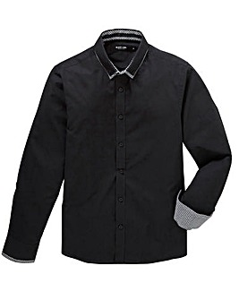 Black Label Plain Double Collar Shirt L