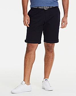 Black Label Navy Belted Chino Shorts