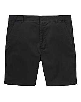 Black Label Black Linen Mix Slim Shorts