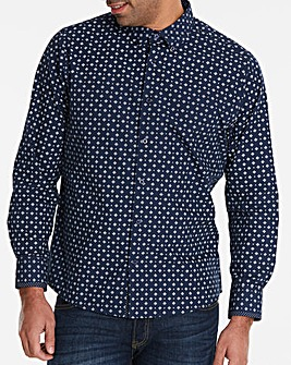 Black Label Navy L/S Geo Print Shirt L
