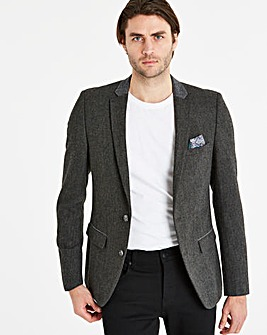 Black Label Grey Slim Mix Tweed Blazer R