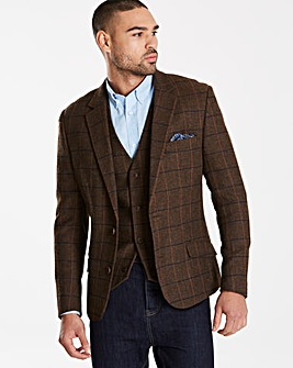 Black Label Brown Checked Tweed Blazer L