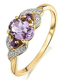 9 Carat Gold Amethyst and Diamond Ring