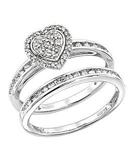 9Ct White Gold 1/4 Carat Heart Ring