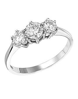 Moissanite 9 Carat 1 Carat Trilogy Ring