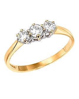 Moissanite Gold 1/2 Carat Trilogy Ring